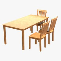 Wood Table and Chiar for Cinema4D Blender and Other