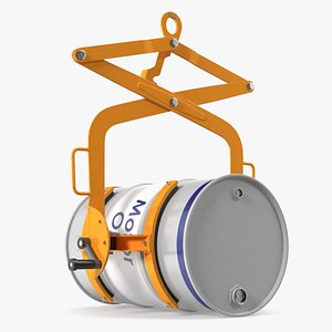 3D model Crane Mounted Drum Lifter and Rotator with Barrel