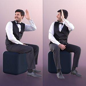 man business sitting 3D model