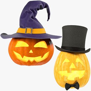Halloween Pumpkins with Hats Collection V1 3D model