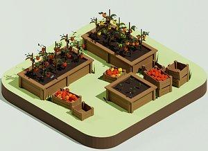 3D Low Poly Cartoon Pepper Plant