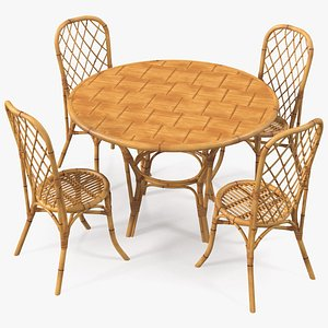 3D model dining table chairs set