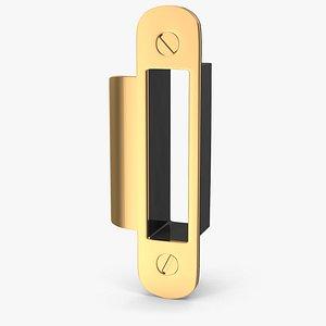 3D Door Lock Strike Plate Golden V04 model