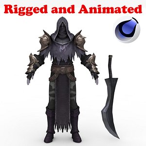 Dark Demon Hunter Melee Rigged and Animated 3D model