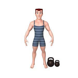 cartoon bodybuilder 3D model