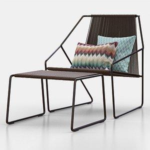 3D model cordula easy chair ottoman