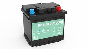 3D Car Battery 12V 50Ah 420A model