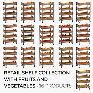 Retail Shelf 02 01 Collection with Fruits and Vegetables - 16 Products 3D model