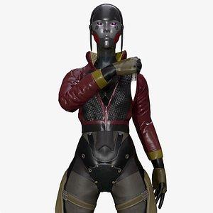 3D Korra Cyberpunk Cyborg Female Assassin
