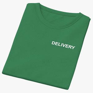3D Female Crew Neck Folded Green Delivery 01 model