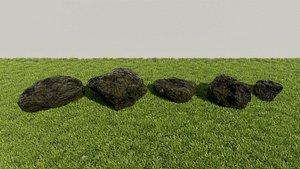 3D mossy rocks