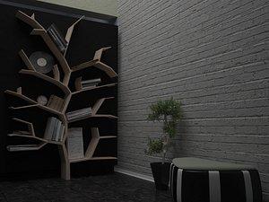 3D tree shaped bookshelf shelf model