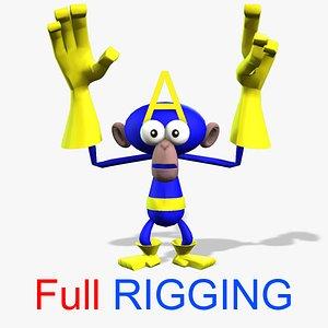 3D 3D Cartoon Monkey Rigged Character model