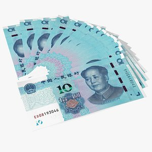 Fan of Chinese 10 Yuan 2019 Banknotes model