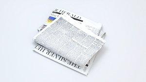 Folded Bundle of Newspapers with Texture model 3D model