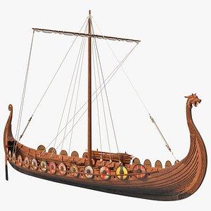 Viking Drakkar Folded 3D model