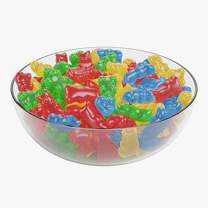 Gummy Bears in Bowl 3D