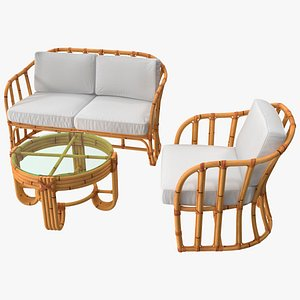 3D Vintage Bamboo Furniture with Cushions Set