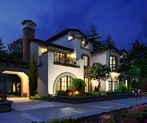 3D model villa exterior