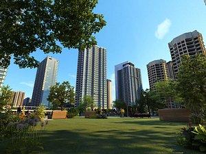3D model City City Street Residential Area Modern City Bird's Eye View Residential Area