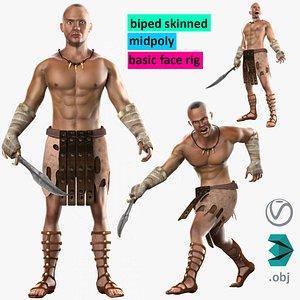 3D warrior hero medieval human male model