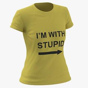 Female Crew Neck Worn Yellow Im With Stupid 02