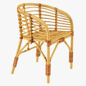 Bamboo Chair with Armrest 3D model