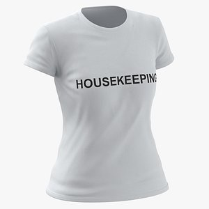 Female Crew Neck Worn White Housekeeping 01 3D model
