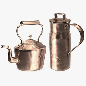 Antique Copper Cookware Collection 2 model