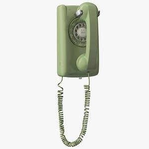 Vintage Green Rotary Dial Wall Phone 3D model