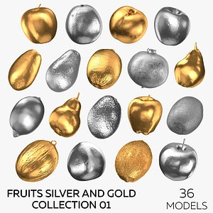 3D model Fruits Silver and Gold Collection 01 - 36 models