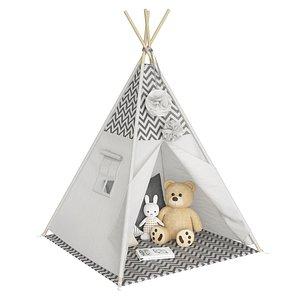 Gray Kids Tent 3D model