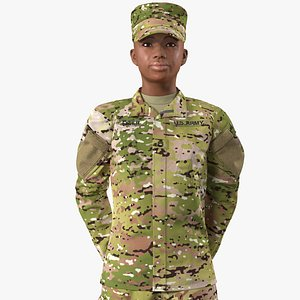 3D black female soldier camouflage