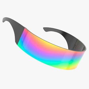 futuristic rainbow shield sunglasses 3D model