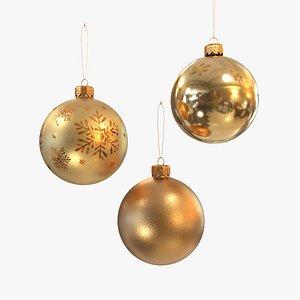 Christmas balls gold 3D model