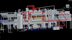 Solvent Plant with AutoCAD PLANT 3D model