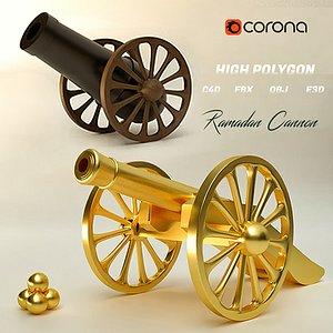 3D model cannon ramadan