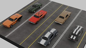 3D Muscle car lowpoly set x 6 model