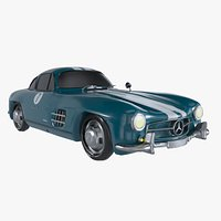 Retro Sport Car Mercedes SL Blue