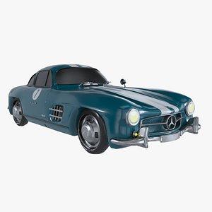 Retro Sport Car Mercedes SL Blue 3D