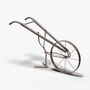 3D antique wheel hoe model