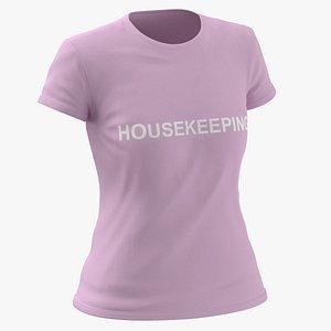 Female Crew Neck Worn Pink Housekeeping 02 3D model