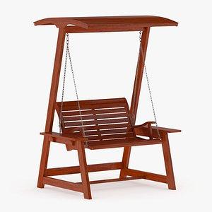 Wooden Swing Chair 003 3D model