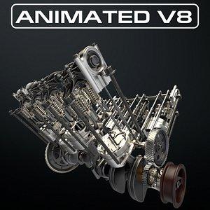 V8 Engine Working Animated model
