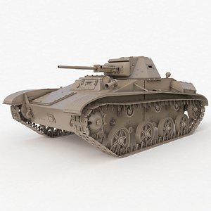 3D Tank T 60 Soviet Clay VRay model
