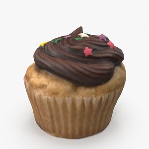 3D model Chocolate Cupcake with Star Sprinkles