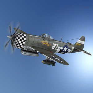 3D model Republic P-47D Thunderbolt - No guts…no glory