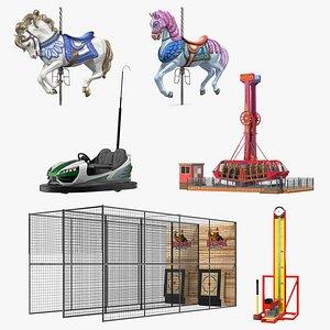 Amusement Park Attractions Collection 3D