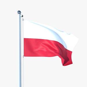 Animated Flag of Poland 3D model