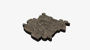Stylized stone floor seamless tile 3D